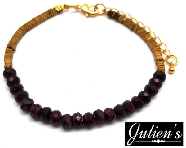 Bracelet Cuivre doré & Rondelles Grenat Facetté