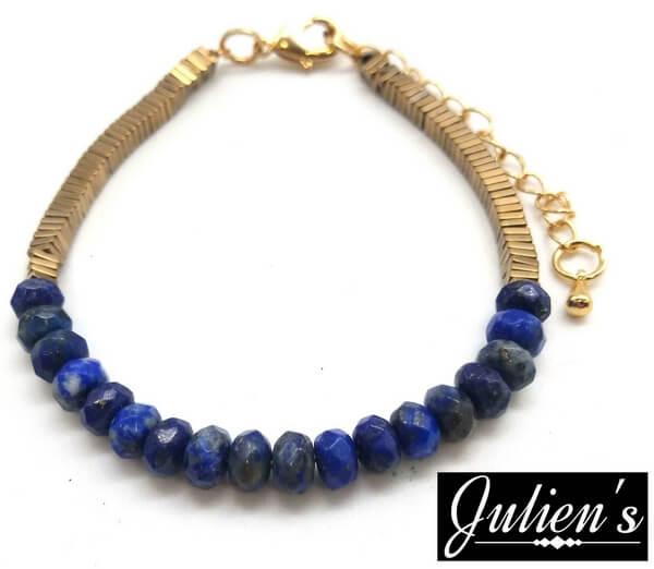 Bracelet Cuivre doré & Rondelles Lapis Lazuli Facetté
