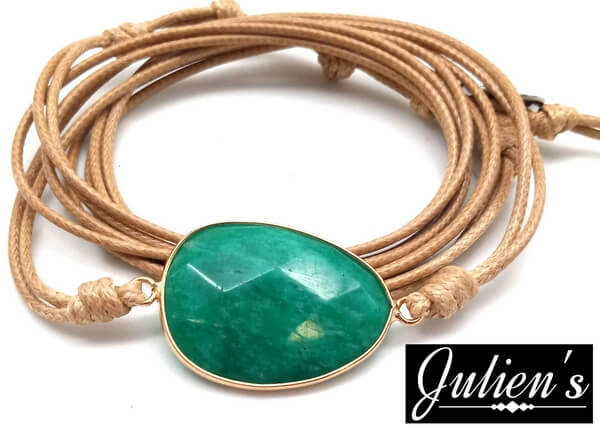 Bracelet Cuir & Aventurine Verte Extra Facetté