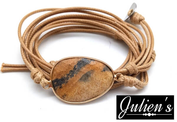 Bracelet Cuir & Jaspe Paysage Extra Facetté