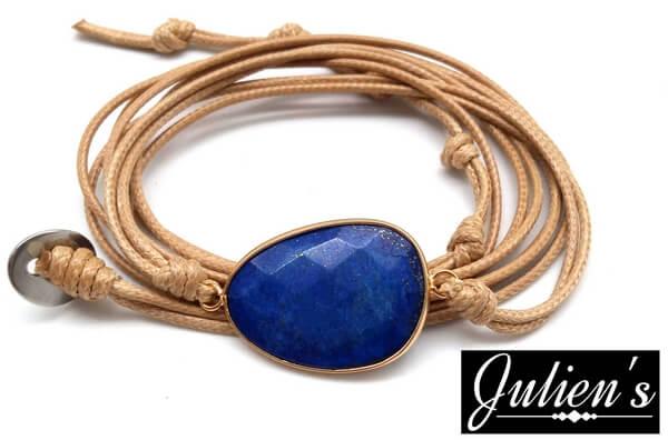 Bracelet Cuir & Lapis Extra Facetté