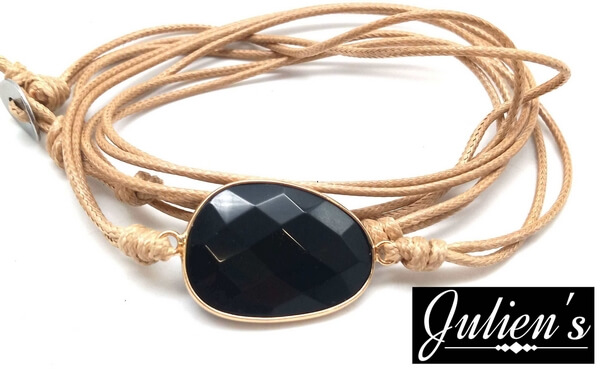 Bracelet Cuir & Onyx Extra Facetté