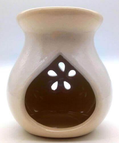 Quemador Aceite Cerámica Calado Blanco 9cm