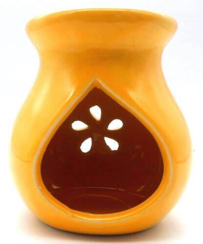 Quemador Aceite Cerámica Calado Amarillo 9cm