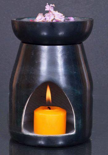 Quemador Aceite Piedra Calado Negro 13cm