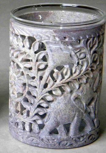 Quemador Aceite Piedra Calado Elefantes 11cm