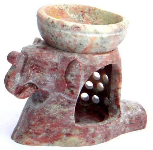 Quemador Aceite Piedra Elefante & Copa 10cm