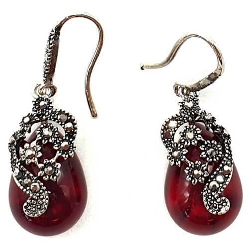 Boucles d'oreilles Argent Tibétain Agate Rouge 3cm