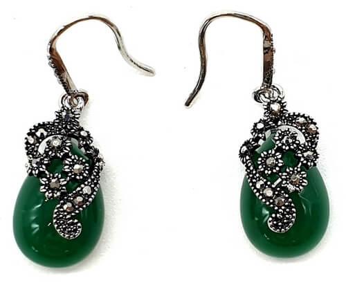 Boucles d'oreilles Argent Tibétain Jade Verte 3cm