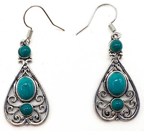 Boucles d'oreilles Ethnique Turquoise 5cm