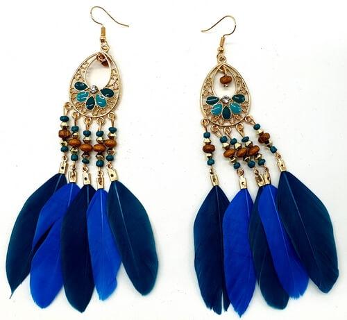Boucles d'oreilles Plumes Bleu/Marine 13cm
