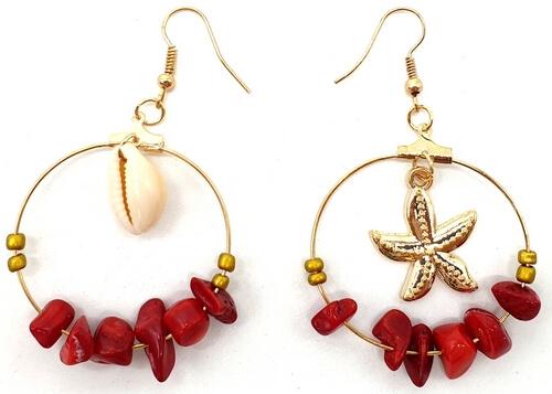 Boucles d'oreilles Baroque & Coquillages Jaspe Rouge 5cm