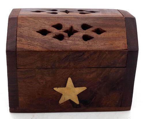 Portaincenso Legno Coni Cofanetto Stella 8cm
