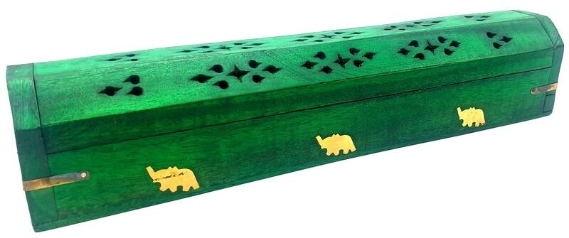Porte-Encens Bois Coffret Vert Eléphants 30cm