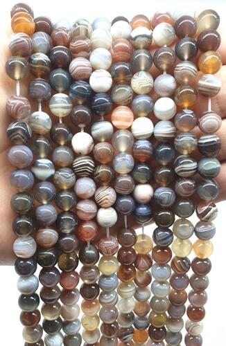 Perle di agata Bostwana 8 mm su un filo di 40 cm