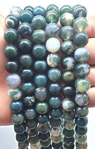 Perles Agate Mousse 10mm sur fil 40cm