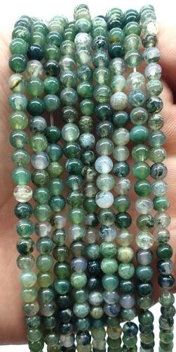 Perles Agate Mousse 4mm sur fil 40cm