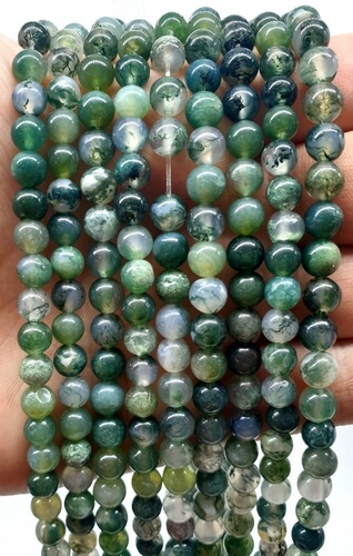 Perles Agate Mousse 6mm sur fil 40cm