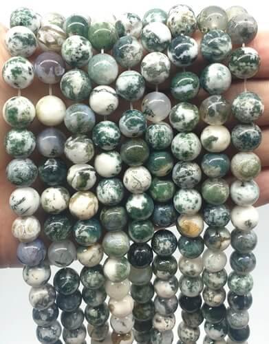 Perles Agate Arbre 10mm sur fil 40cm