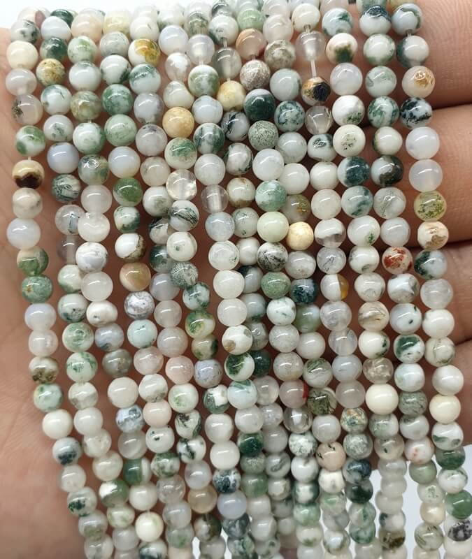 Perles Agate Arbre 4mm sur fil 40cm