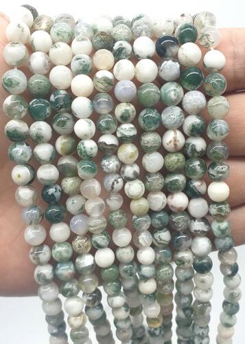 Perles Agate Arbre 6mm sur fil 40cm
