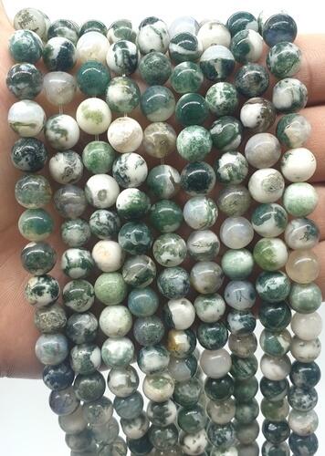 Perles Agate Arbre 8mm sur fil 40cm