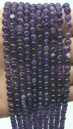 Perle di ametista 'Dark' 4mm su un filo di 40cm