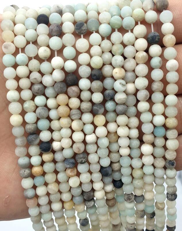 Perles Amazonite 4mm sur fil 40cm