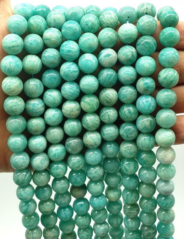 Perles Amazonite Extra 10mm sur fil 40cm