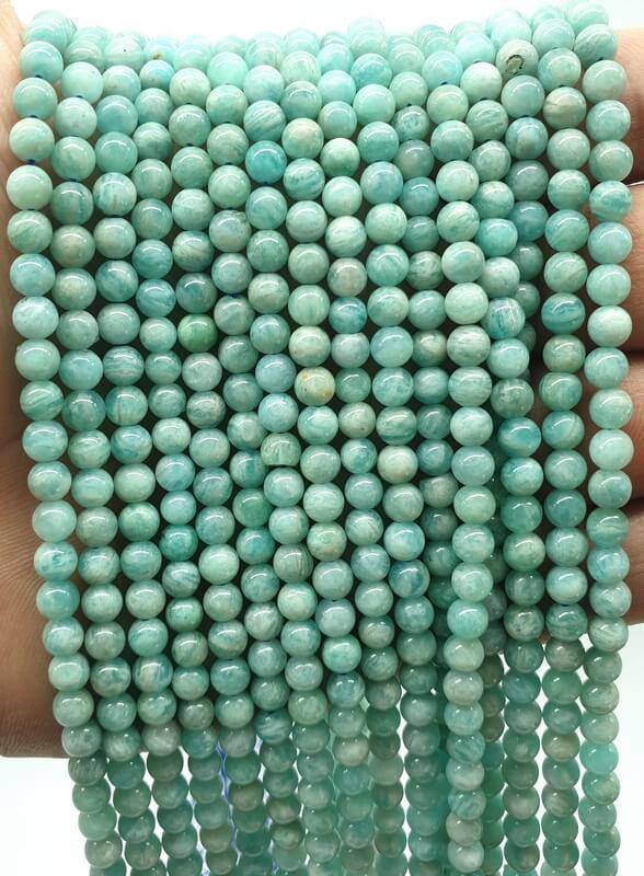 Perles Amazonite Extra 4mm sur fil 40cm