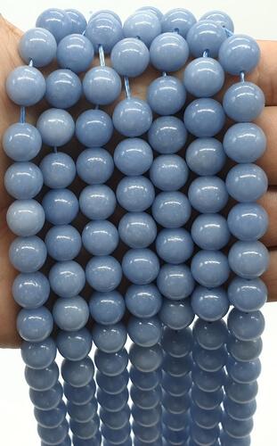 Perles Angélite 10mm sur fil 40cm