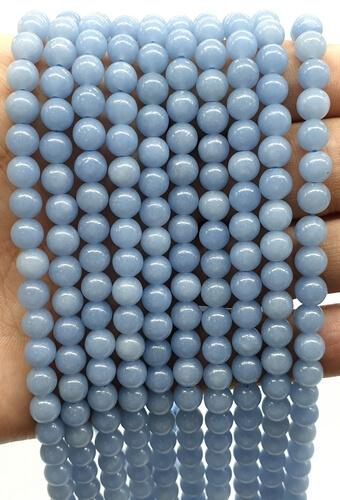 Perles Angélite 6mm sur fil 40cm