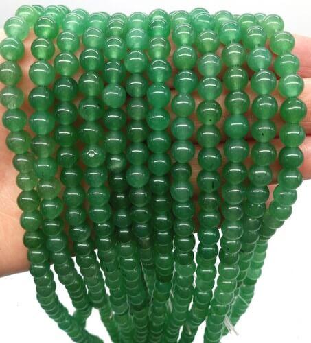 Perle di avventurina verde da 6 mm su filo da 40 cm