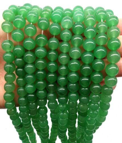 Perle di avventurina verde 8mm su filo da 40 cm