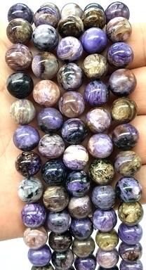 Perles Charoïte 10mm sur fil 40cm
