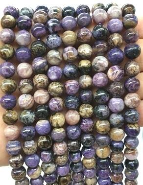 Perles Charoïte 8mm sur fil 40cm