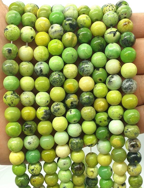 Perles Chrysoprase 8mm sur fil 40cm