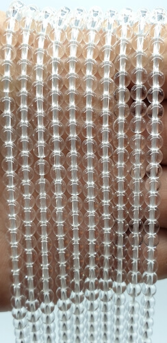 Perle di cristallo di rocca 4 mm su un filo di 40 cm