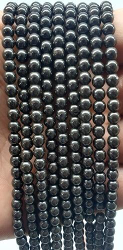 Perle di ematite 4 mm su un filo di 40 cm