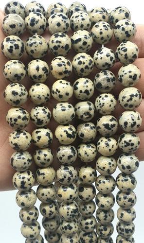 Perles Jaspe Dalmatien 10mm sur fil 40cm