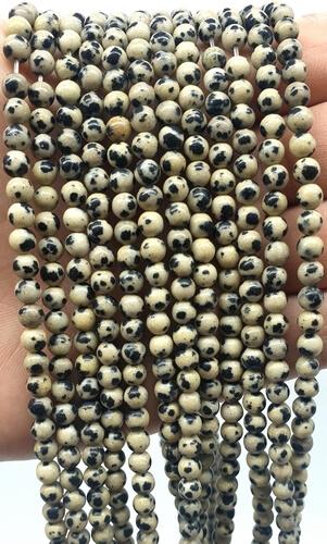 Perles Jaspe Dalmatien 4mm sur fil 40cm