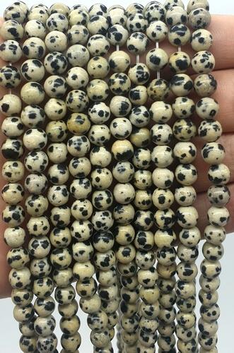 Perles Jaspe Dalmatien 6mm sur fil 40cm