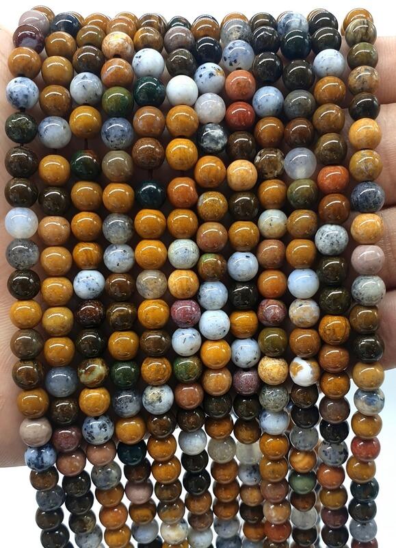 Perles Jaspe Océan 6mm sur fil 40cm