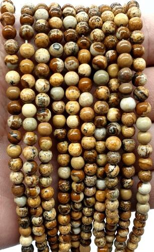 Perles Jaspe Paysage 4mm sur fil 40cm