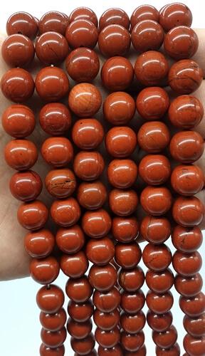 Perle di diaspro rosso da 10 mm su un filo di 40 cm