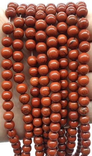 Perles Jaspe Rouge 6mm sur fil 40cm