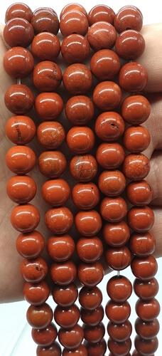 Perle di diaspro rosso 8 mm su un filo di 40 cm