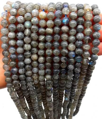 Perles ''Blue Light'' Labradorite 6mm sur fil 40cm