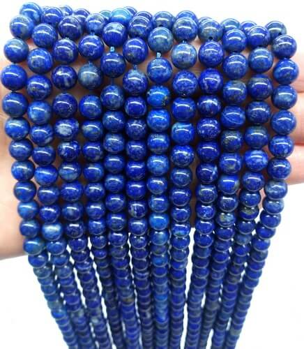 Cuentas de lapislázuli natural 'A' de 6 mm en un hilo de 40 cm
