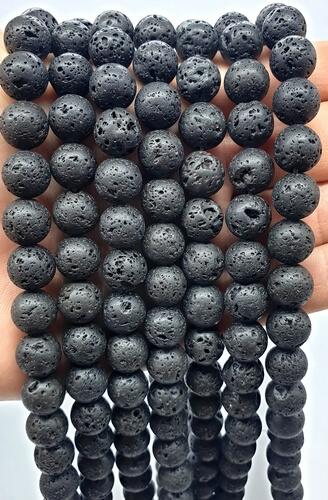Perles de Lave 10mm sur fil 40cm